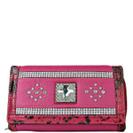 HOT PINK STUDDED RHINESTONE CROSS LOOK CHECKBOOK WALLET CB1-0471HPK