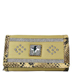 BEIGE STUDDED RHINESTONE CROSS LOOK CHECKBOOK WALLET CB1-0471BEI