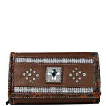 BROWN STUDDED RHINESTONE CROSS LOOK CHECKBOOK WALLET CB1-0471BRN