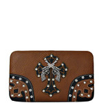 BROWN RHINESTONE PISTOL LOOK WESTERN CHECKBOOK WALLET FW2-0468BRN