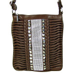 BROWN STUDDED RHINESTONE BRAID RUFFLE LOOK MESSENGER BAG MB1-C1020BRN