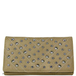 BEIGE STUDDED RHINESTONE DISTRESSED LEATHERETTE LOOK CHECKBOOK WALLET CB1-1215BEI