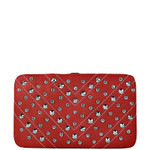 PINK STUDDED RHINESTONE DISTRESSED LEATHERETTE LOOK THICK FLAT WALLET FW2-1215PNK