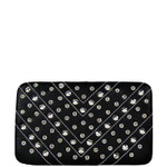 BLACK STUDDED RHINESTONE DISTRESSED LEATHERETTE LOOK THICK FLAT WALLET FW2-1215BLK