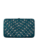 TURQUOISE STUDDED RHINESTONE DISTRESSED LEATHERETTE LOOK THICK FLAT WALLET FW2-1215TRQ