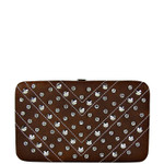 BROWN STUDDED RHINESTONE DISTRESSED LEATHERETTE LOOK THICK FLAT WALLET FW2-1215BRN