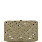 BEIGE STUDDED RHINESTONE DISTRESSED LEATHERETTE LOOK THICK FLAT WALLET FW2-1215BEI