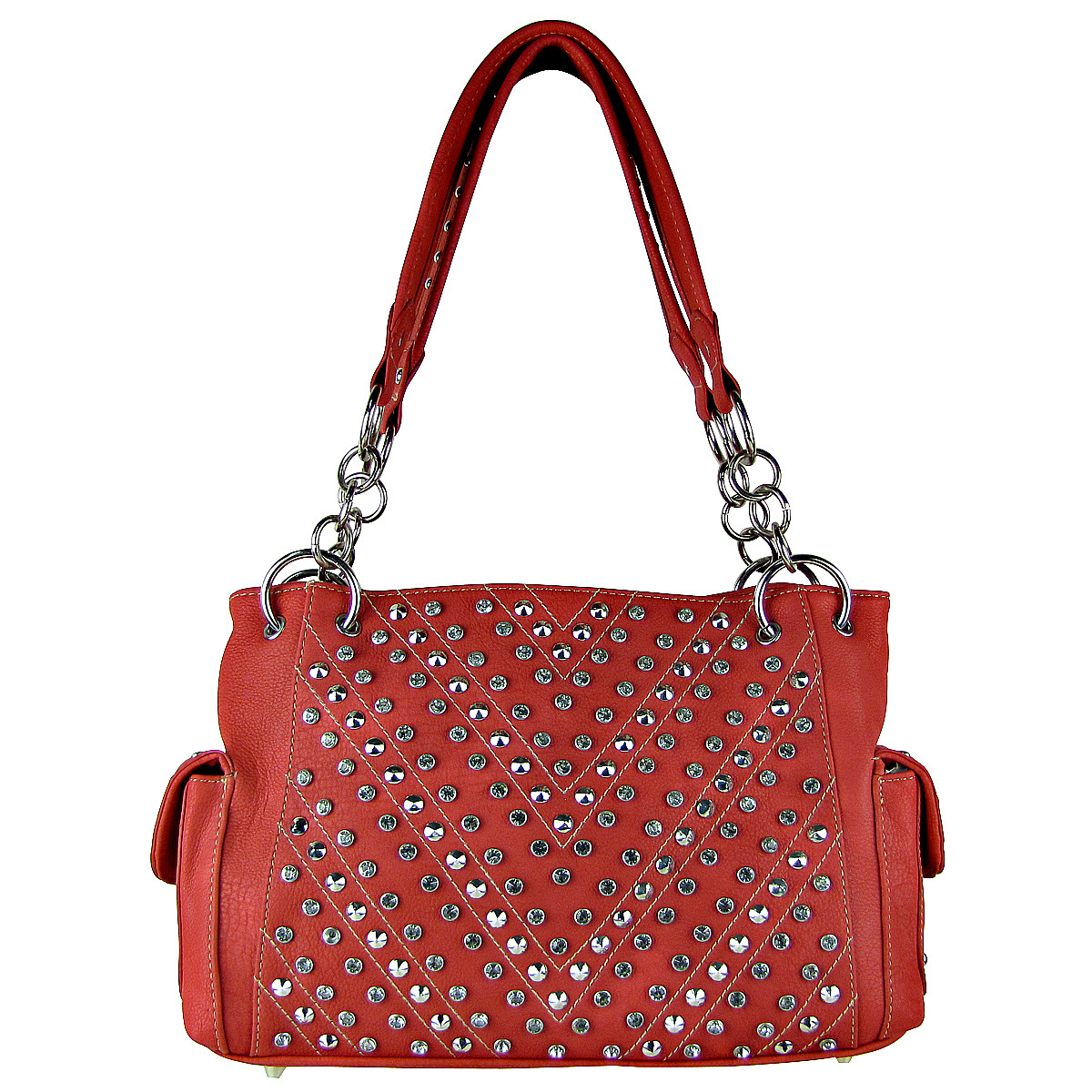 PINK RHINESTONE STUDDED LEATHERETTE LOOK SHOULDER HANDBAG HB1-12480PNK