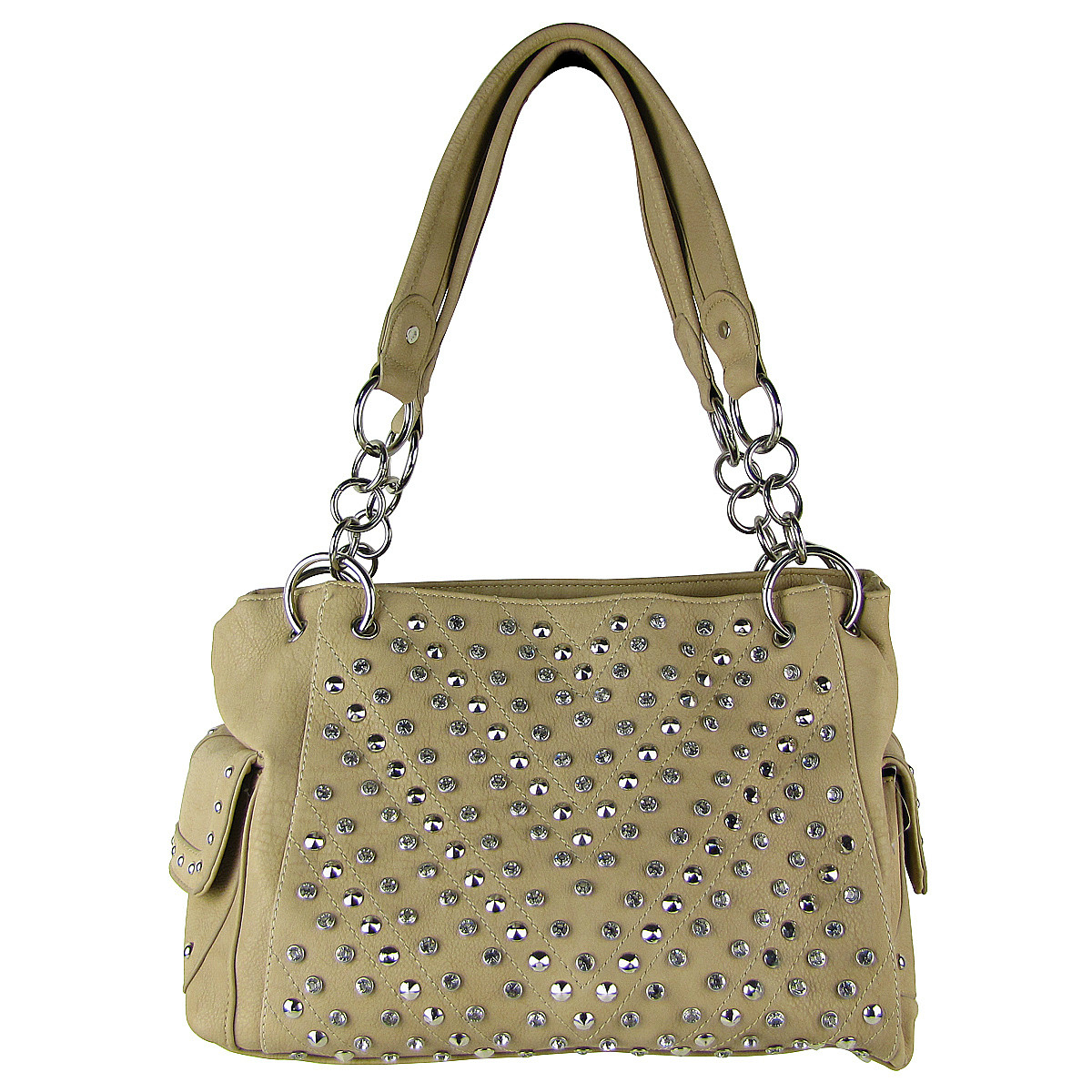BEIGE RHINESTONE STUDDED LEATHERETTE LOOK SHOULDER HANDBAG HB1-12480BEI