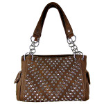 BROWN RHINESTONE STUDDED LEATHERETTE LOOK SHOULDER HANDBAG HB1-12480BRN