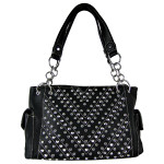BLACK RHINESTONE STUDDED LEATHERETTE LOOK SHOULDER HANDBAG HB1-12480BLK