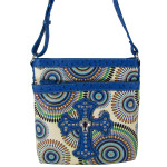 BLUE RETRO DESIGN RHINESTONE CROSS LOOK MESSENGER BAG MB1-L12240BLU