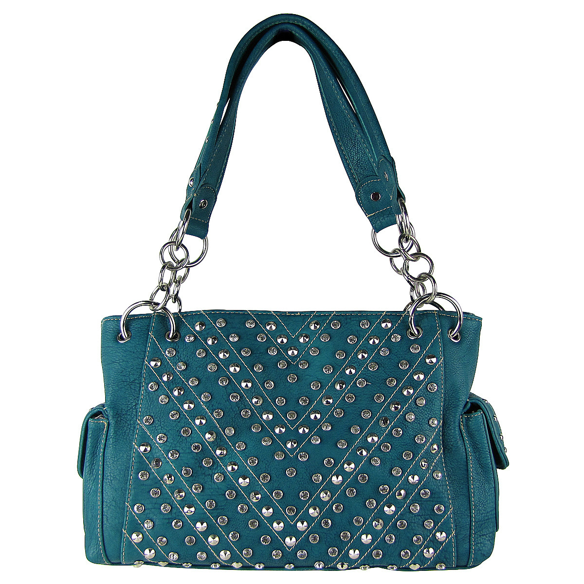 TURQUOISE RHINESTONE STUDDED LEATHERETTE LOOK SHOULDER HANDBAG HB1-12480TRQ