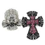 HOT PINK RHINESTONE CROSS LOOK STRETCH FASHION RING FR1-0429HPK