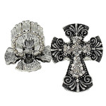 CLEAR RHINESTONE CROSS LOOK STRETCH FASHION RING FR1-0429CLR