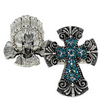 BLUE RHINESTONE CROSS LOOK STRETCH FASHION RING FR1-0429BLU