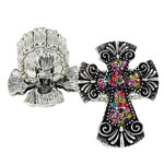MULTI RHINESTONE CROSS LOOK STRETCH FASHION RING FR1-0429MLT