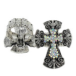 AB RHINESTONE CROSS LOOK STRETCH FASHION RING FR1-0429AB