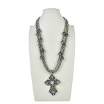 AB RHINESTONE CROSS DESIGN LARGE PENDANT NECKLACE LOOK NK1-0428AB