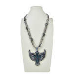 BLUE RHINESTONE WING CROSS DESIGN LARGE PENDANT NECKLACE LOOK NK1-0427BLU