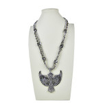 CLEAR RHINESTONE WING CROSS DESIGN LARGE PENDANT NECKLACE LOOK NK1-0427CLR