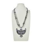 AB RHINESTONE WING CROSS DESIGN LARGE PENDANT NECKLACE LOOK NK1-0427AB