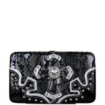 BLACK METALLIC LACE RHINESTONE CROSS LOOK FLAT THICK WALLET FW2-0423BLK