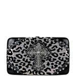 SILVER METALLIC LEOPARD RHINESTONE CROSS LOOK FLAT THICK WALLET FW2-0439SLV