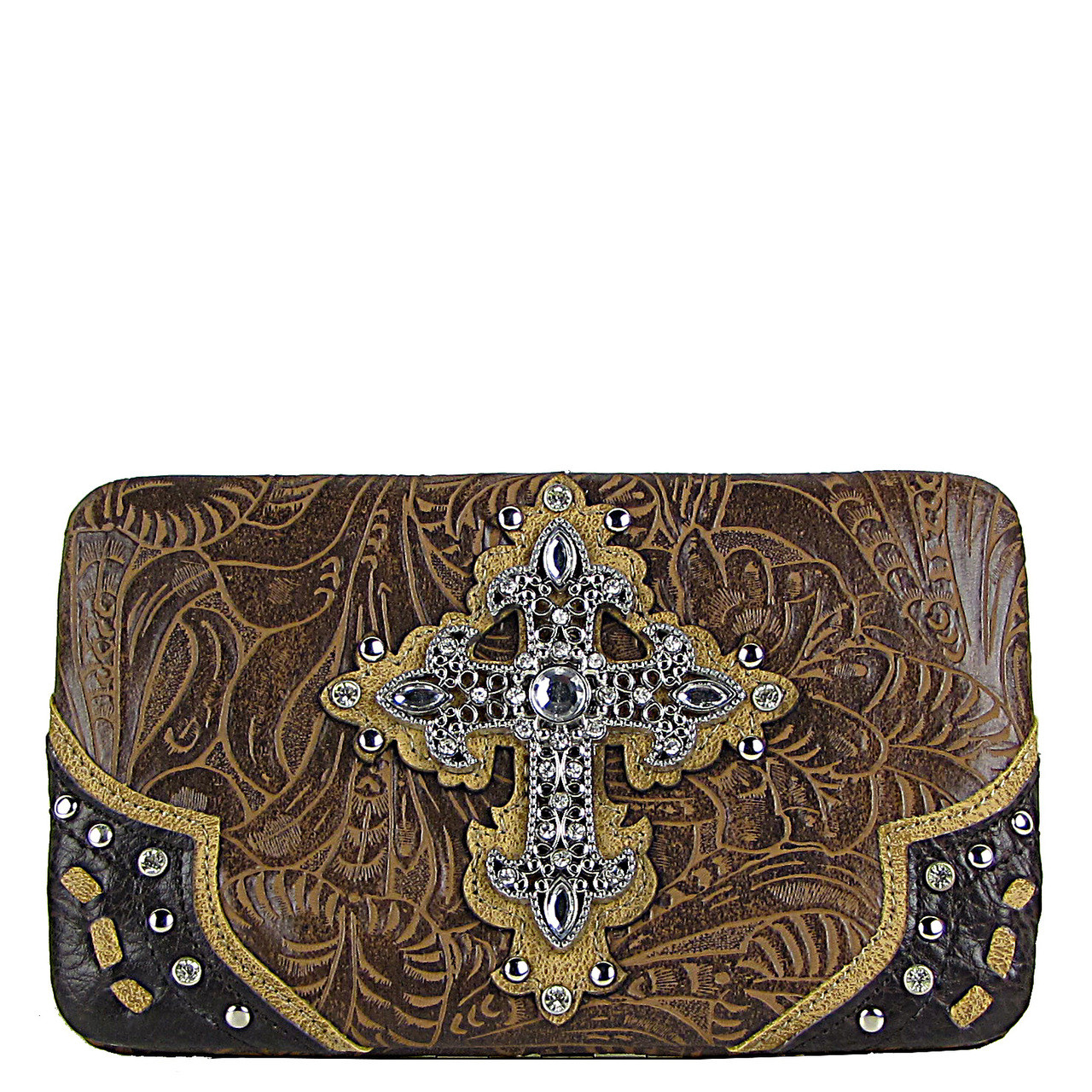 BROWN TOOLED WESTERN RHINESTONE CROSS LOOK FLAT THICK WALLET FW2-0438BRN