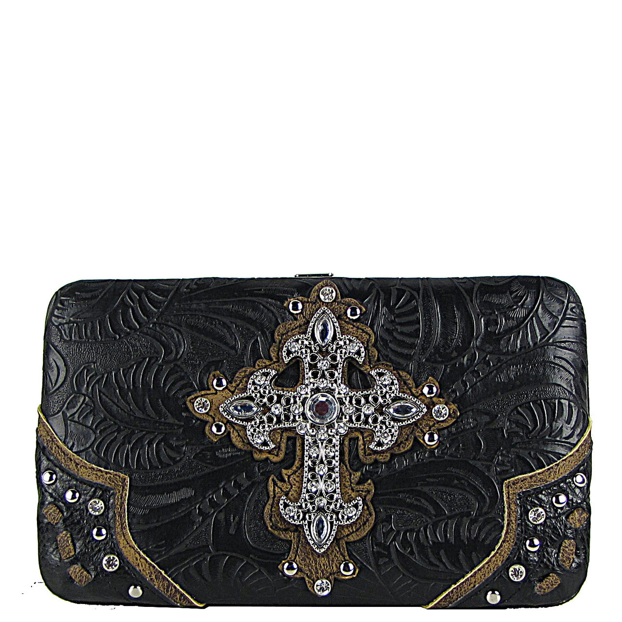 BLACK TOOLED WESTERN RHINESTONE CROSS LOOK FLAT THICK WALLET FW2-0438BLK