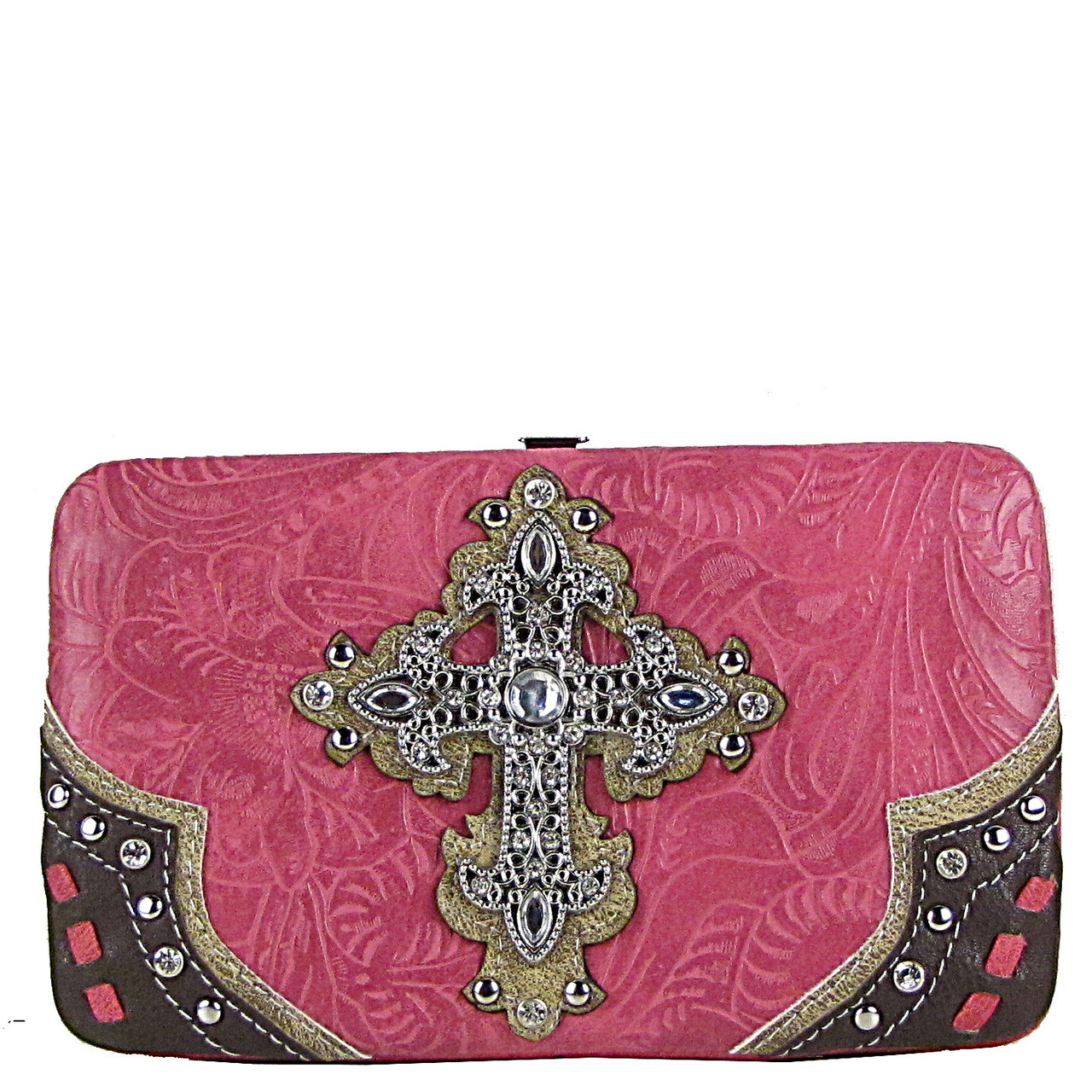 HOT PINK TOOLED WESTERN RHINESTONE CROSS LOOK FLAT THICK WALLET FW2-0438HPK