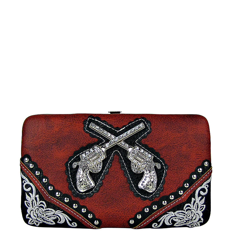 RED WESTERN STITCHED RHINESTONE PISTOLS LOOK FLAT THICK WALLET FW2-1234RED