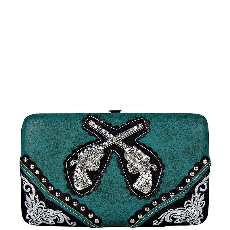 TURQUOISE WESTERN STITCHED RHINESTONE PISTOLS LOOK FLAT THICK WALLET FW2-1234TRQ