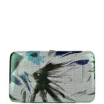 GREEN METALLIC BRUSHED FLORAL LOOK FLAT THICK WALLET FW2-0304GRN