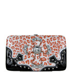 CORAL METALLIC LEOPARD RHINESTRONE CROSS LOOK FLAT THICK WALLET FW2-0435COR