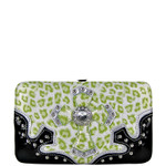 GREEN METALLIC LEOPARD RHINESTRONE CROSS LOOK FLAT THICK WALLET FW2-0435GRN