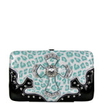 TURQUOISE METALLIC LEOPARD RHINESTRONE CROSS LOOK FLAT THICK WALLET FW2-0435TRQ