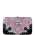 LIGHT PINK METALLIC FORAL PRINT SNAKESKIN RHINESTRONE CROSS LOOK FLAT THICK WALLET FW2-0420LPK