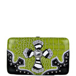 LIME CROC ZEBRA MALTESE CROSS LOOK FLAT THICK WALLET FW2-0402LIM