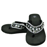 BLACK CROC RHINESTONE CROSS FASHION FLIP FLOP FF1-S006BLK
