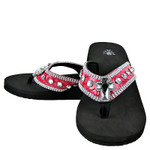 HOT PINK CROC RHINESTONE CROSS FASHION FLIP FLOP FF1-S006HPK