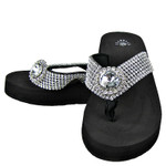BLACK RHINESTONE FLOWER FASHION FLIP FLOP FF1-S032BLK