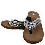 BROWN CROC RHINESTONE HEART CROSS FLIP FLOP FF1-S030BRN
