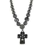 AB RHINESTONE CROSS DESIGN SMALL PENDANT NECKLACE LOOK NK1-0430AB