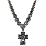 CLEAR RHINESTONE CROSS DESIGN SMALL PENDANT NECKLACE LOOK NK1-0430CLR