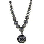 AB RHINESTONE CROSS DESIGN SMALL PENDANT NECKLACE LOOK NK1-0431AB