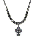 CLEAR/AB RHINESTONE CROSS DESIGN SMALL PENDANT NECKLACE LOOK NK1-0432CLR