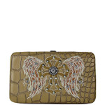 BEIGE CROC STUDDED RHINESTONE STITCHED CROSS LOOK FLAT THICK WALLET FW2-0404BEI