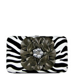 GRAY ZEBRA RHINESTONE FLOWER LOOK FLAT THICK WALLET FW2-0753GRY