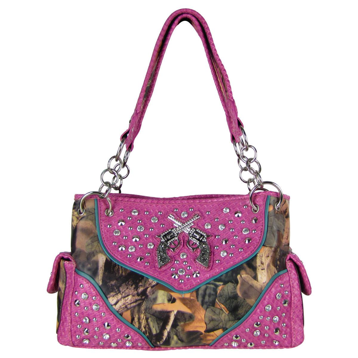 HOT PINK MOSSY CAMO STUDDED RHINESTONE PISTOL LOOK SHOULDER HANDBAG HB1-12860HPK